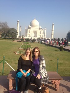Kathryn and Lauri in Front of TAJ